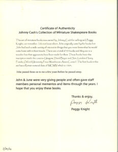A letter of authentication from Peggy Knight, Cash's assistant of 30 years.