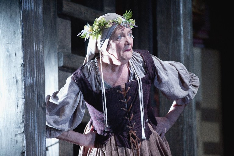 Catherine Flye as Mistress Quickly in Henry V, Folger Theater, 2013.