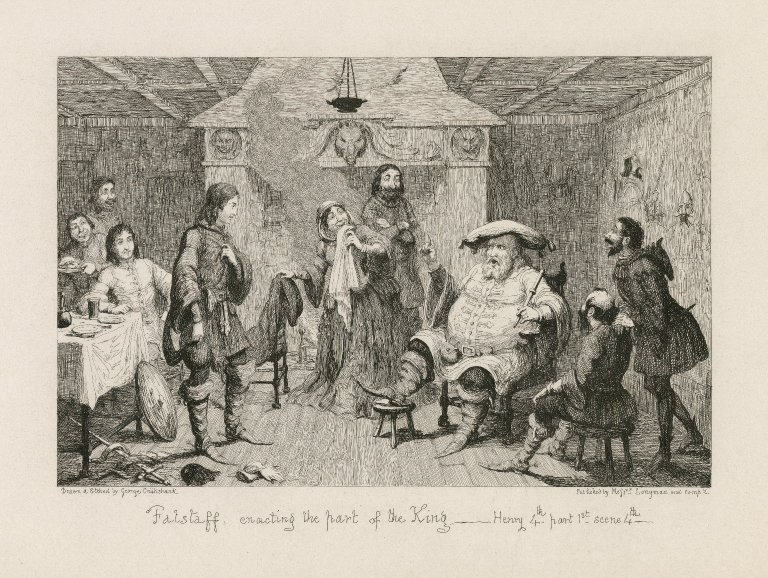 Print showing Falstaff acting the part of the king
