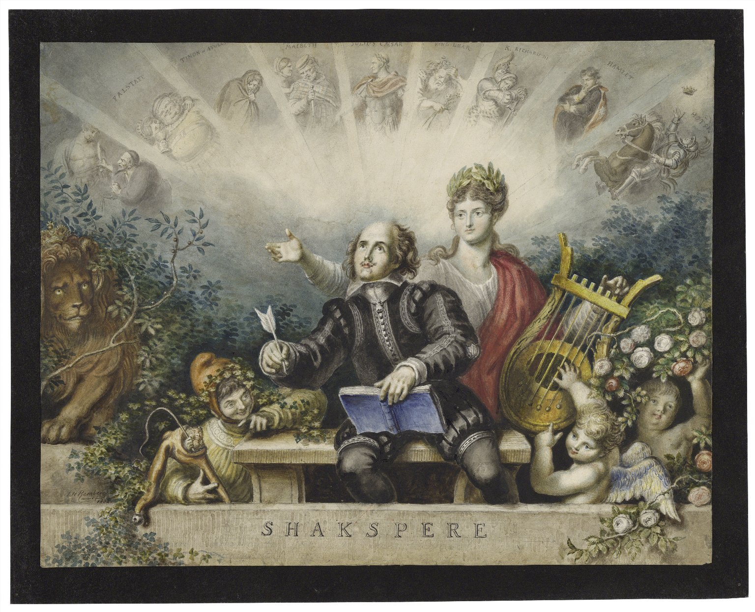 Portrait of Shakespeare with a muse