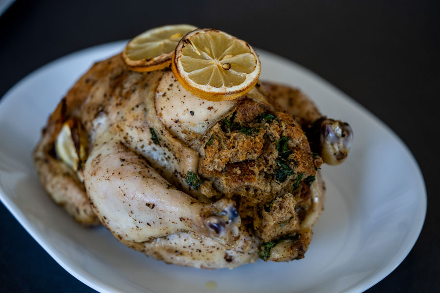 roasted turkey with stuffing inside it