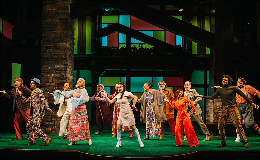 The Merry Wives of Windsor cast on a Brady Bunch-inspired stage