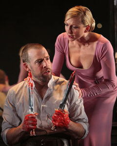 Macbeth and Lady Macbeth with the bloody daggers