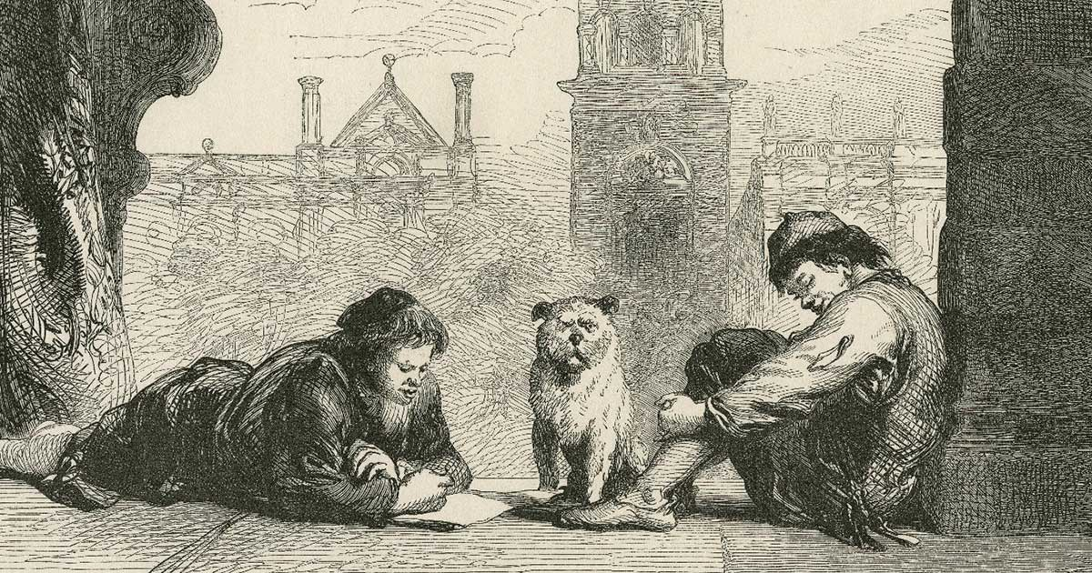 One person reading a letter to another person with a dog