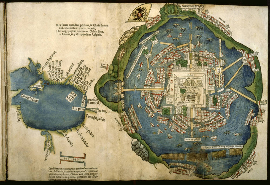 Woodcut map and plan of Tenochtitlán