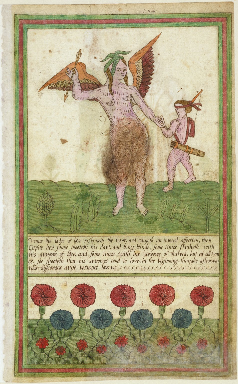 Crude, hand-drawn image of Venus and Cupid from the Trevelyon Miscellany. Cupid wears a blindfold.