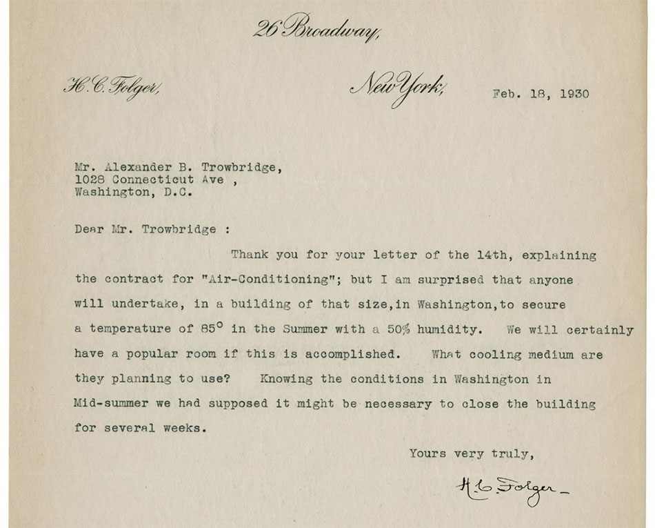 Letter from Henry Folger about air conditioning